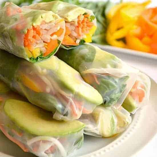 Vegetarian Avocado Summer Rolls with Sweet 'N Spicy Cilantro Dipping Sauce
