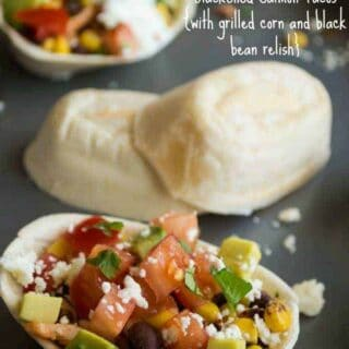 Blackened Salmon Taco Boats {with grilled corn and black bean relish}