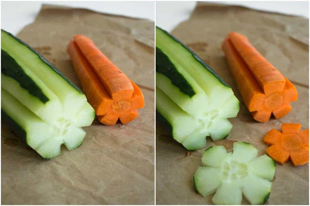 How to cut cucumbers and carrots to look like flowers!