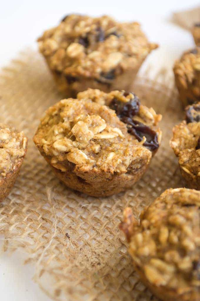 Oatmeal Raisin Muffins. Healthy oil free, egg free muffins made without refined sugar and flours! Perfect for breakfast or snacking on!