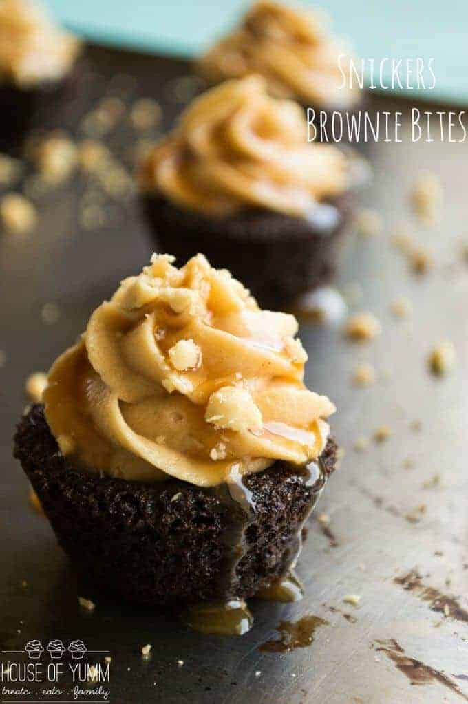Snickers Brownie Bites. Dark Chocolate brownie bites topped with a ...