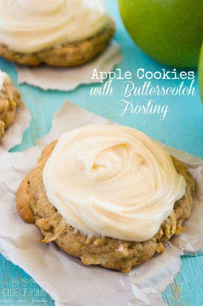 Soft & thick Apple Cookies. Topped with a sweet, fluffy cream cheese butterscotch frosting. These are a MUST make for Fall!