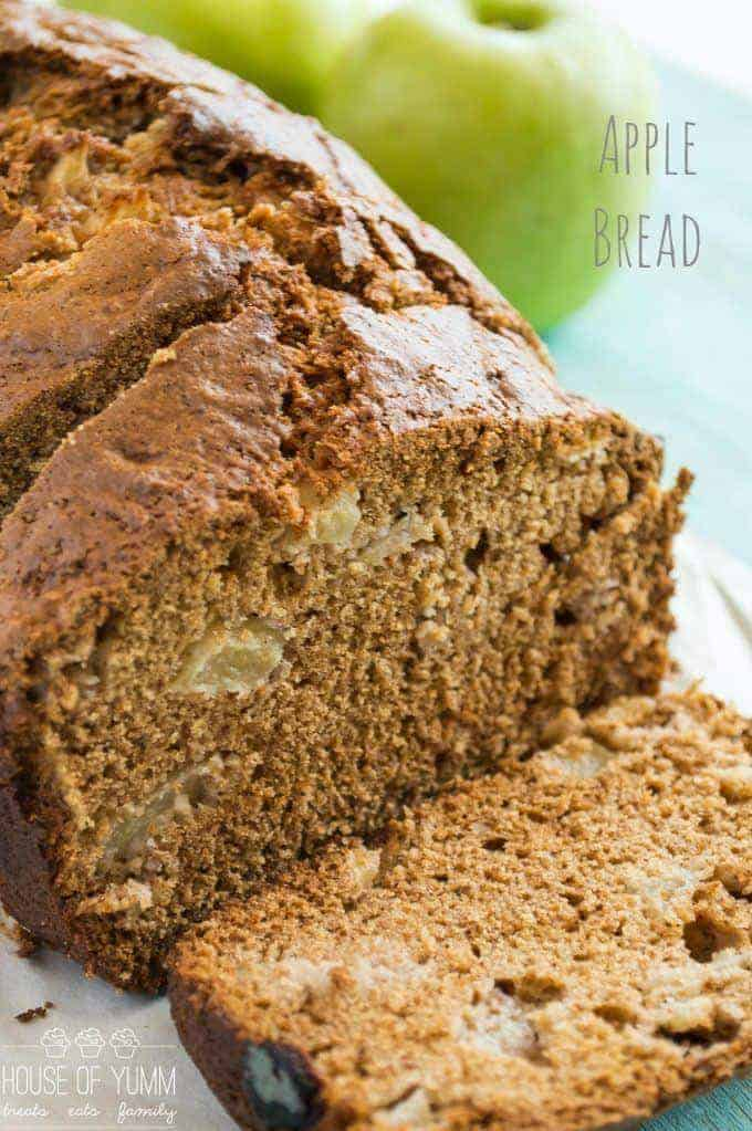 Hands down the BEST Apple Bread! Less oil, more applesauce, super moist! Bursting with chunks of apple and lots of sweet spices in every bite!