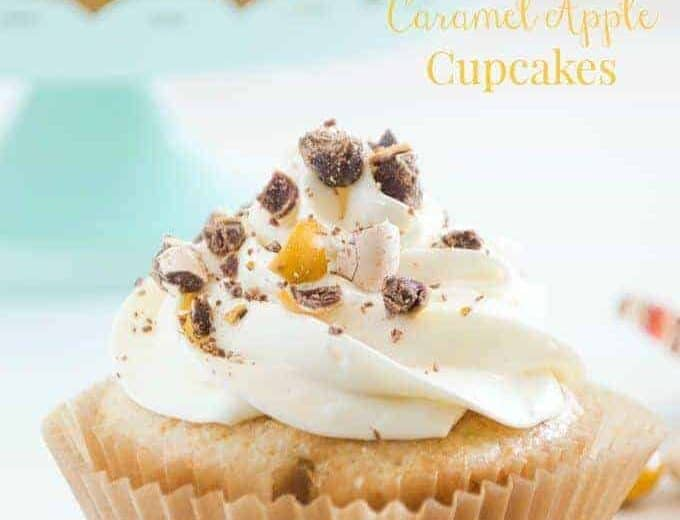 Caramel Apple Flavored cupcakes topped with a fluffy whipped cream cheese frosting and crushed Pecan Pie M&Ms. All your Fall flavor dreams come true!