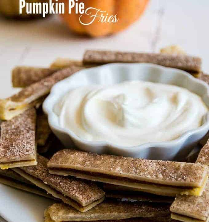 Pumpkin Pie Fries-Seriously EASY to make Pumpkin Pie Fries served with whipped cream for dipping!