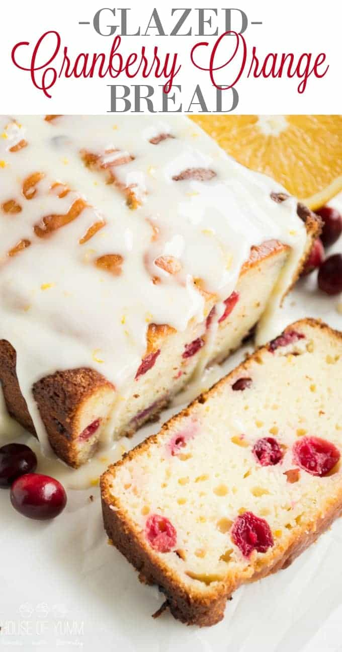 Super moist Cranberry Orange Bread drizzled with an orange zest glaze, bursting with tart cranberries. Made using fresh orange juice and greek yogurt! This bread is always a hit!!