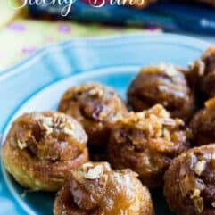 EASY 5 Ingredient NO RISE Mini Sticky Buns! Less than 30 mins start to finish for these soft, sweet, sticky, breakfast treats!