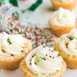 Sugar Cookie Cups! EASY to make cookie cups topped with a smooth and creamy SUGAR COOKIE FROSTING! Perfect Christmas treat