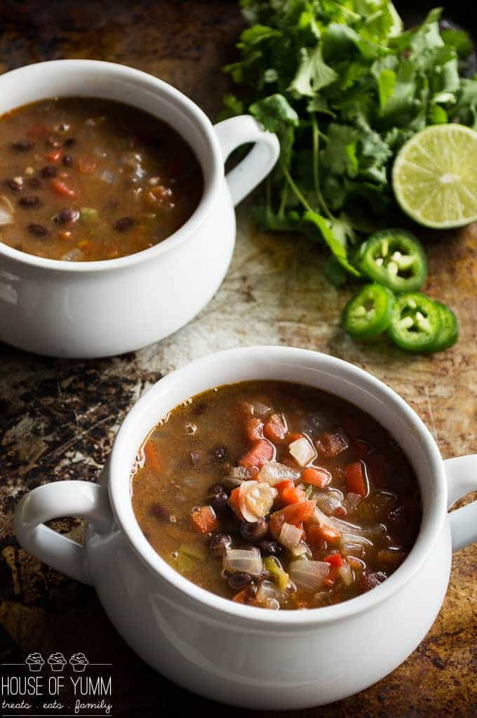 Black Bean Soup! A 30 minute dinner idea! Quick, easy recipe. Naturally meatless and vegetarian.
