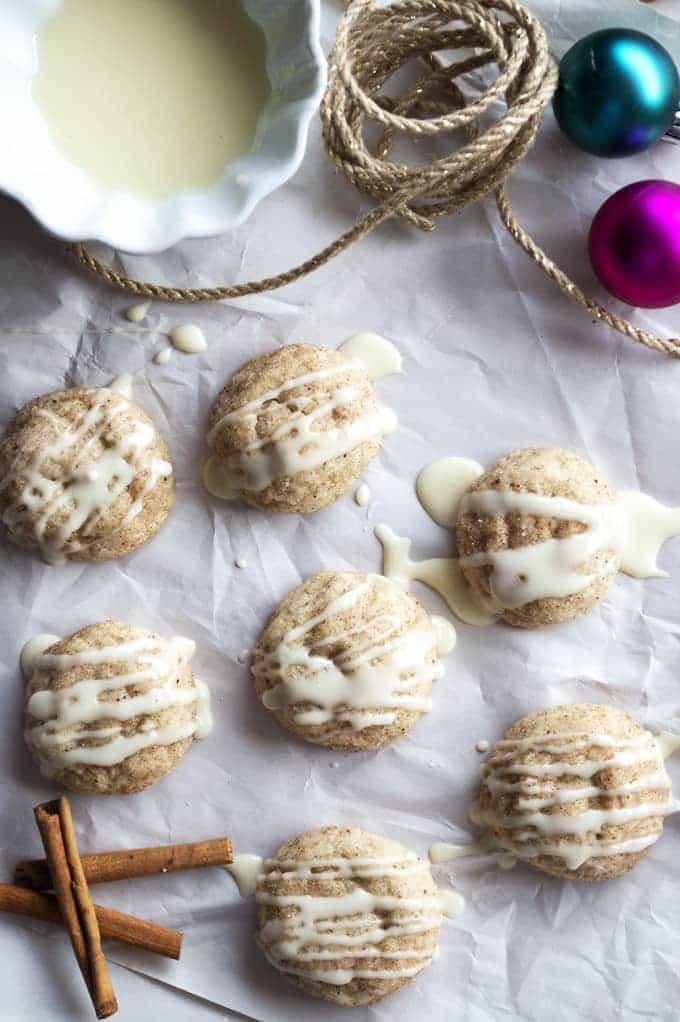 Eggnog Snickerdoodles-with-eggnog-rum-glaze