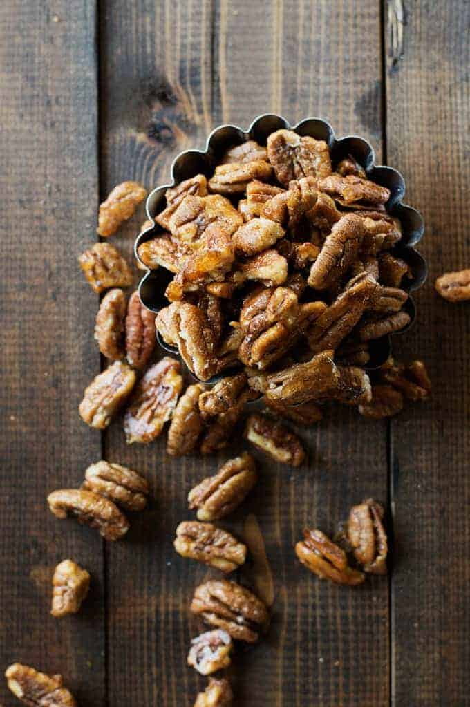 Sweet & Spicy Pecans are the perfect snack! The combination of brown sugar and cayenne pepper make these little pecans a crowdpleaser!