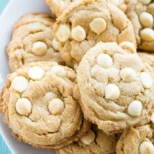 These SOFT and CHEWY peanut butter cookies are dressed up by using White Chocolate Peanut Butter, white chocolate chips extra vanilla and even a vanilla bean.