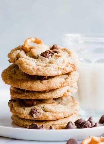 These brown butter chocolate chip cookies are loaded with toffee bits and pretzels creating the perfect blend of sweet and salty to satisfy any craving!