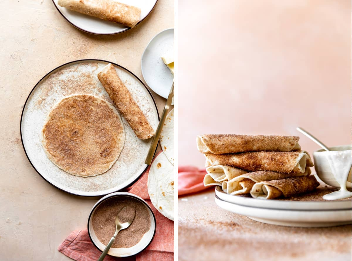 Step by step picture showing sprinkling cinnamon sugar over the tortillas, then being rolled. And a stack of tortillas rolled up on a plate with a bowl of glaze.