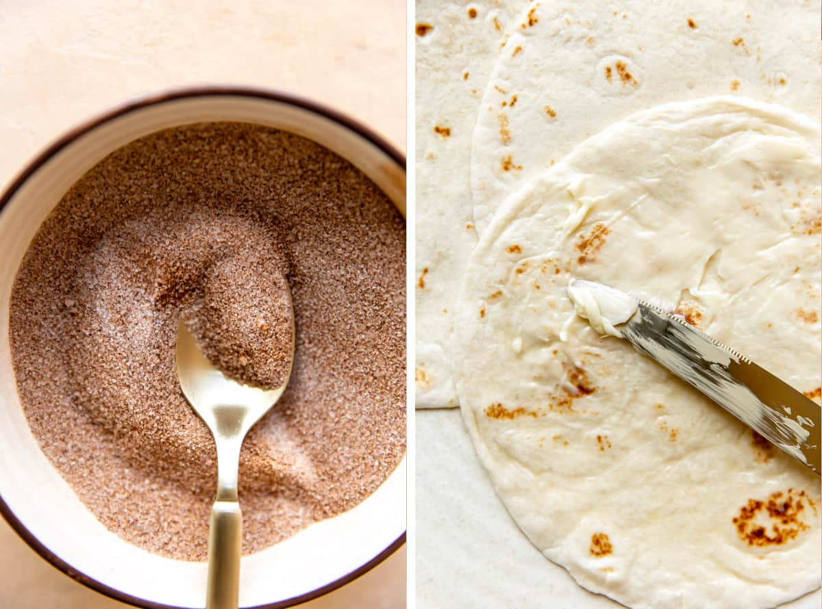 Step by step picture showing cinnamon sugar being mixed, and butter being spread on a warm flour tortilla.