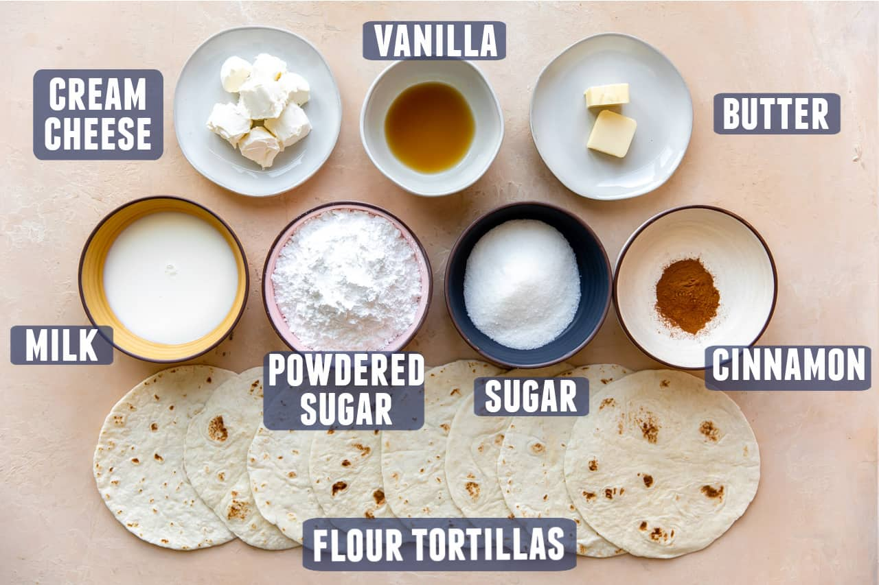 Ingredients for Cinnamon Sugar Tortillas laid out on the counter.