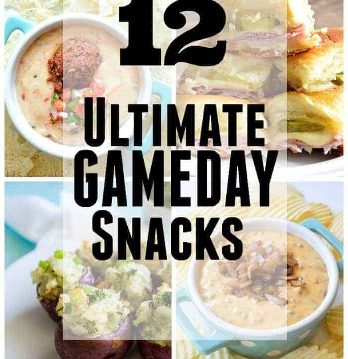 12 Ultimate Gameday snacks! Cheese, bacon, dips, sliders, anything and everything you could possibly want for snacking on!