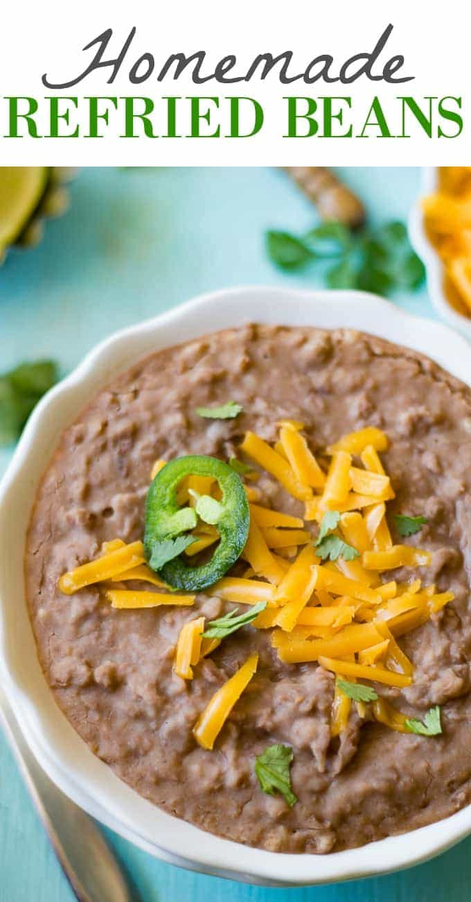 Homemade Refried Beans! Quick and easy! Only 2 ingredients. These are the perfect side dish to any mexican meal, or any meal.