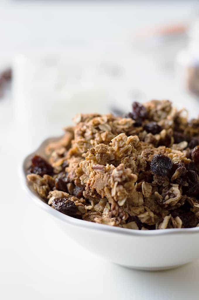 Oatmeal Raisin Cookie Granola. Satisfy your sweet tooth with this healthy snack that tastes just like cookies!