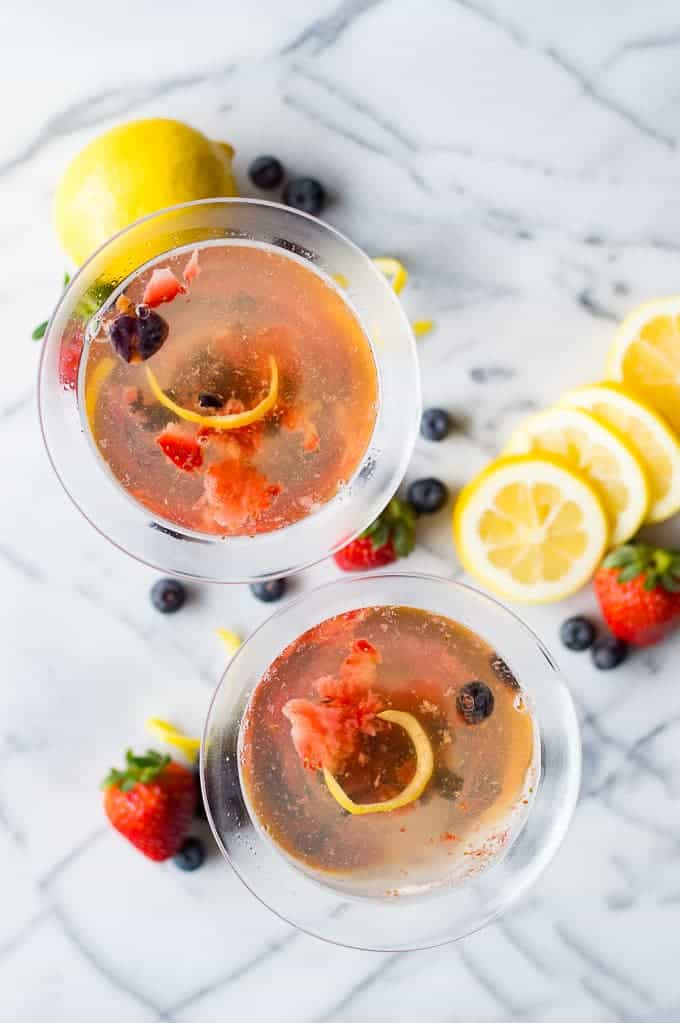 This Lemon Berry Martini is a fun and refreshing cocktail to sip on! The citrus and berry is perfect for spring or summer, or anytime! This martini is mixed with champagne which makes it bubbly and sophisticated.