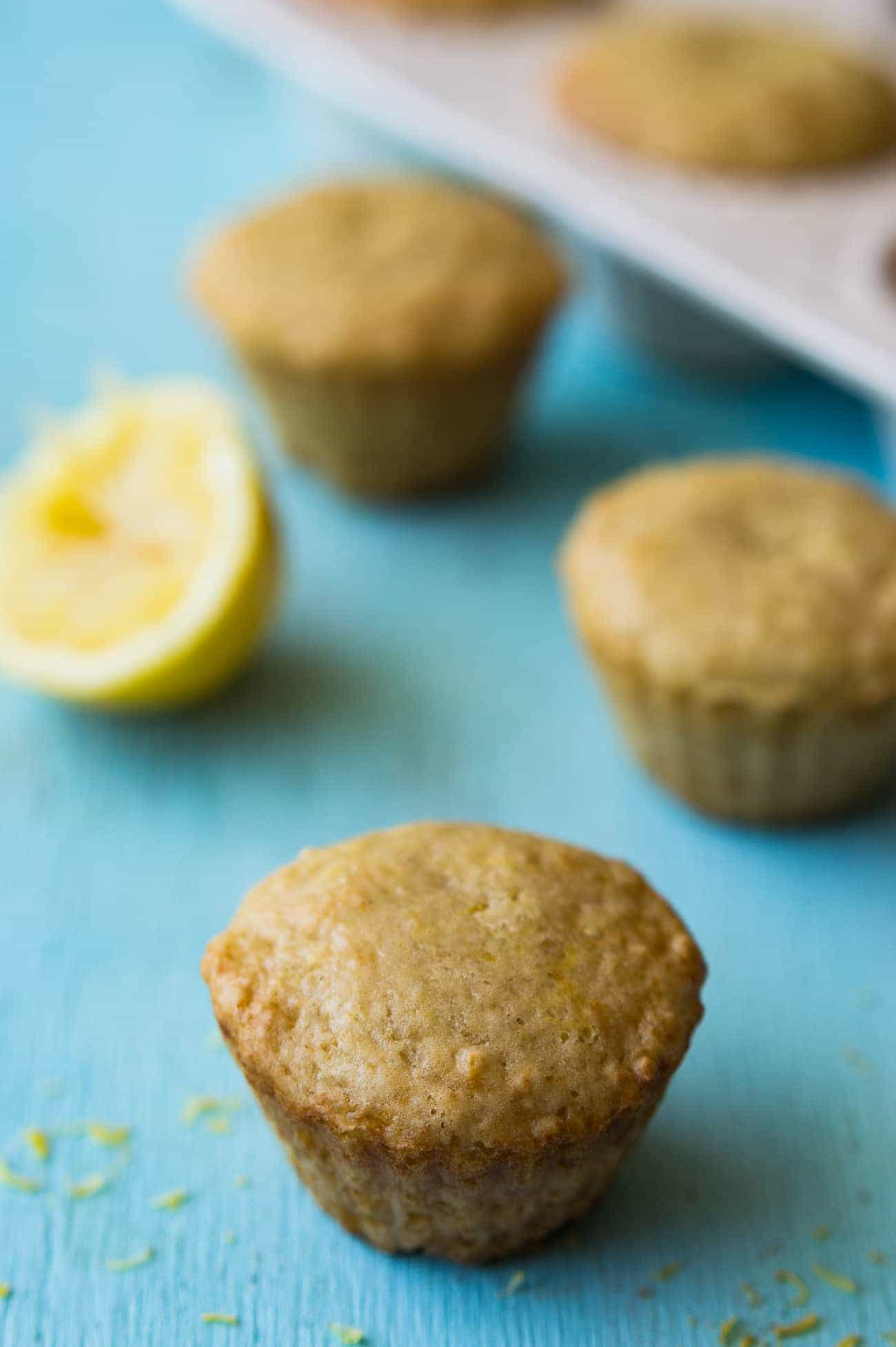 This small batch of healthier lemon muffins will definitely brighten up your breakfast in the morning. Made with whole wheat flour, greek yogurt, and fresh squeezed lemon juice.