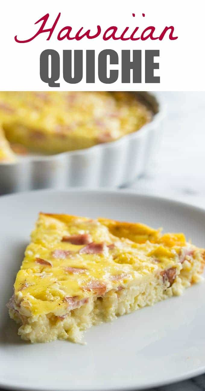 This quiche is bursting with chunks of crispy canadian bacon and juicy bits of sweet pineapple. A fun, easy, and tropical take on a breakfast classic recipe!