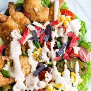 Shrimp Taco Salad with Southwestern Dressing