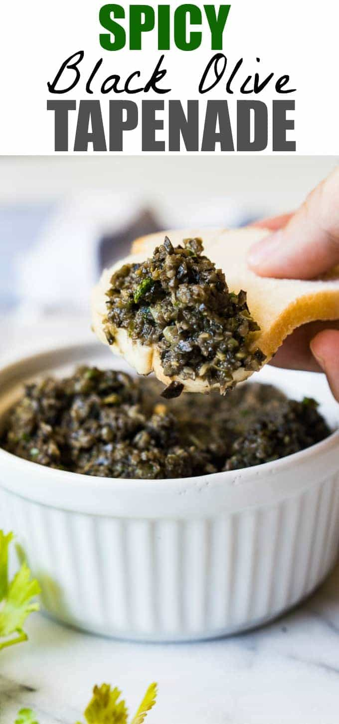 Spicy Black Olive Tapenade is the perfect appetizer made with pureed black olives, cilantro, lime juice, and jalapeños for a little bit of heat!