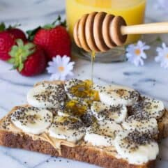 Start the day right with this Maple Peanut Butter Banana Toast loaded up with some chia seeds and extra honey drizzle just for fun.