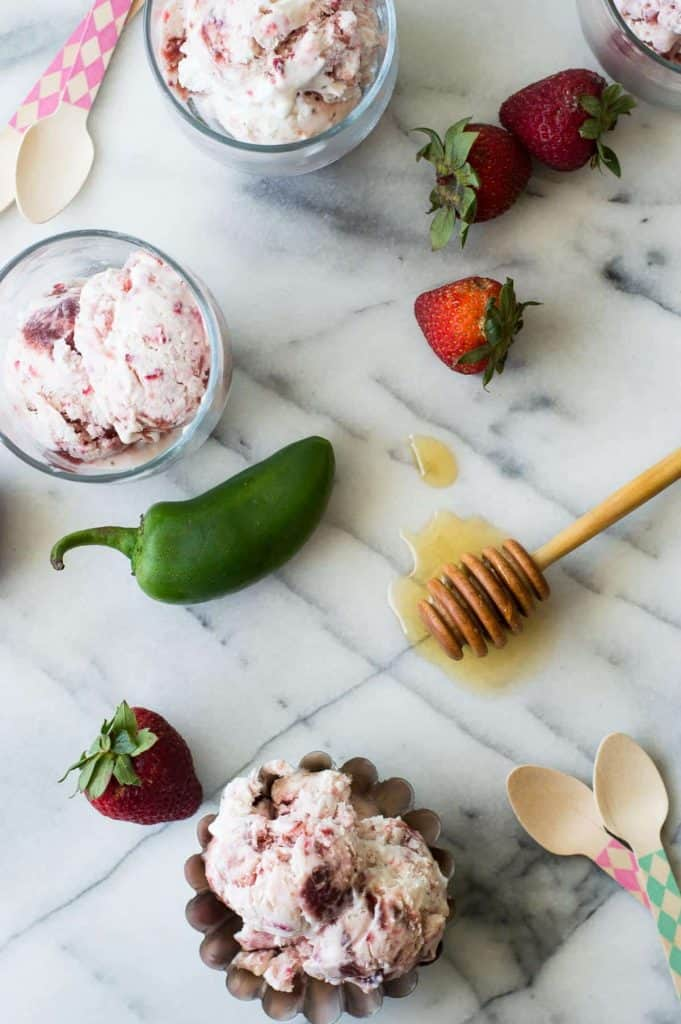 The perfect combination of sweet and spice meet in this cold creamy NO CHURN Strawberry Jalapeño ice cream!