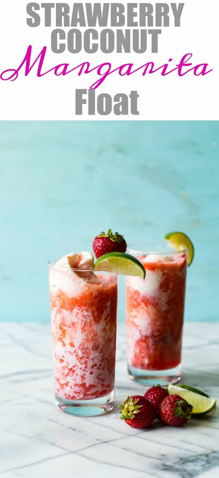 A cold, refreshing strawberry margarita made with fresh strawberries and poured over coconut gelato!