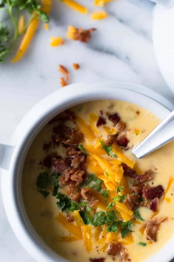 Beer Cheese Soup. Topped with bacon, parsley, and extra cheese.