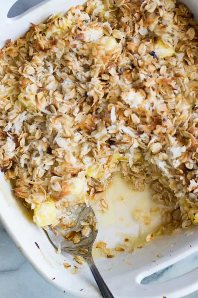 Tropical flavors abound in this Pineapple Crisp, loaded with fresh pineapple and topped with toasted coconut. Add a scoop of coconut gelato for an extra special treat!