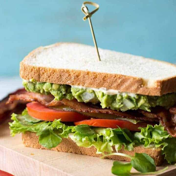 This BLT is loaded up with roasted green chiles, a ton of guacamole, and a spicy cilantro mayonnaise.