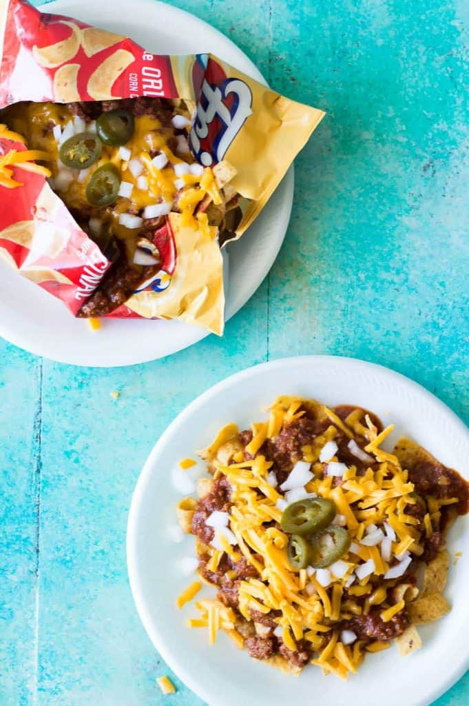 Frito Pie made in the chip bag using 20 Minute Texas Chili.