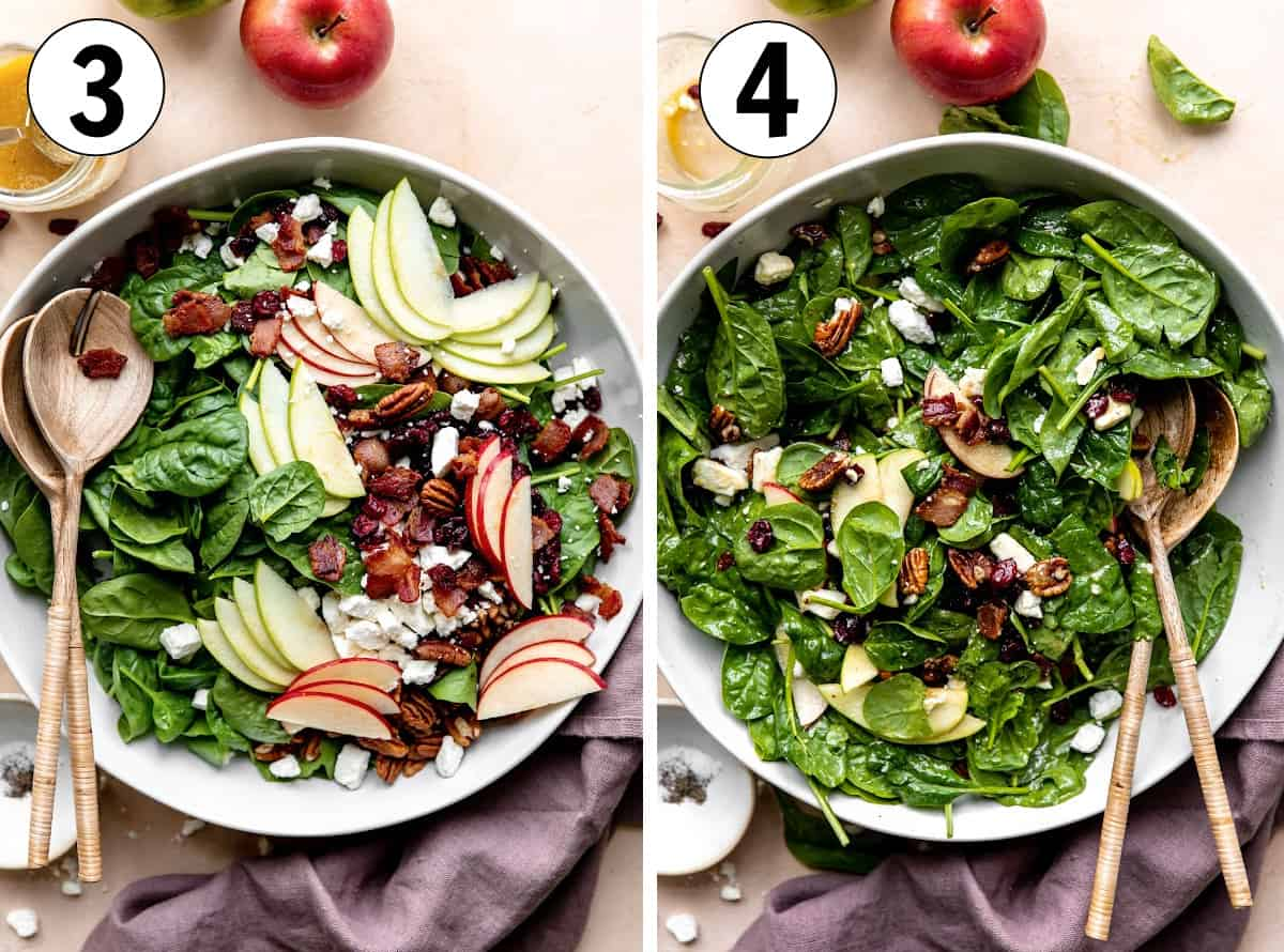 Step by step how to make an apple salad showing a large white bowl with the ingredients layered and then the salad dressed and tossed.