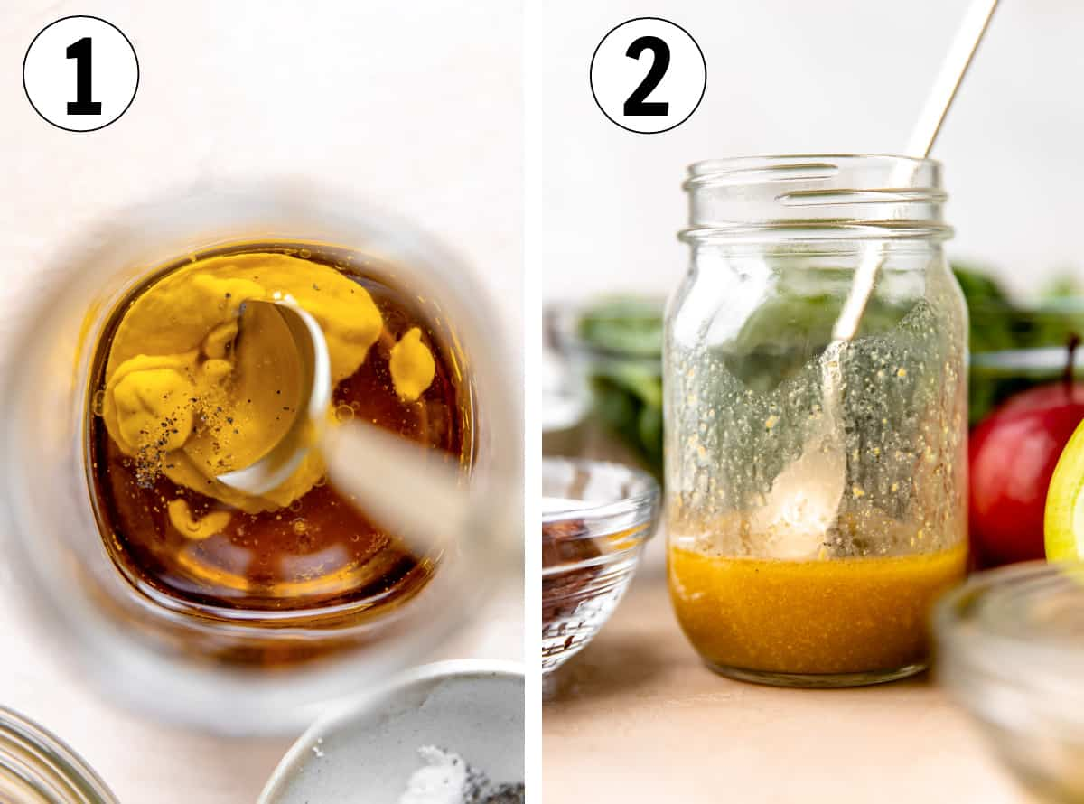 Step by step how to make a maple vinaigrette for salad, showing ingredients in a jar and then mixed together ready to serve.