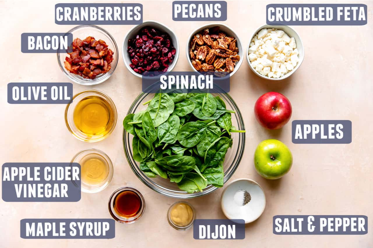 Ingredients needed to make an autumn salad with apples laid on the counter.