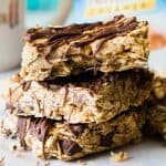 No Bake Peanut Butter Chocolate Oatmeal Bars are a quick and easy breakfast or snack idea! Loaded up with peanut butter, honey, and of course some chocolate!