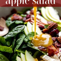 Pinterest image showing dressing being drizzled on an apple salad.