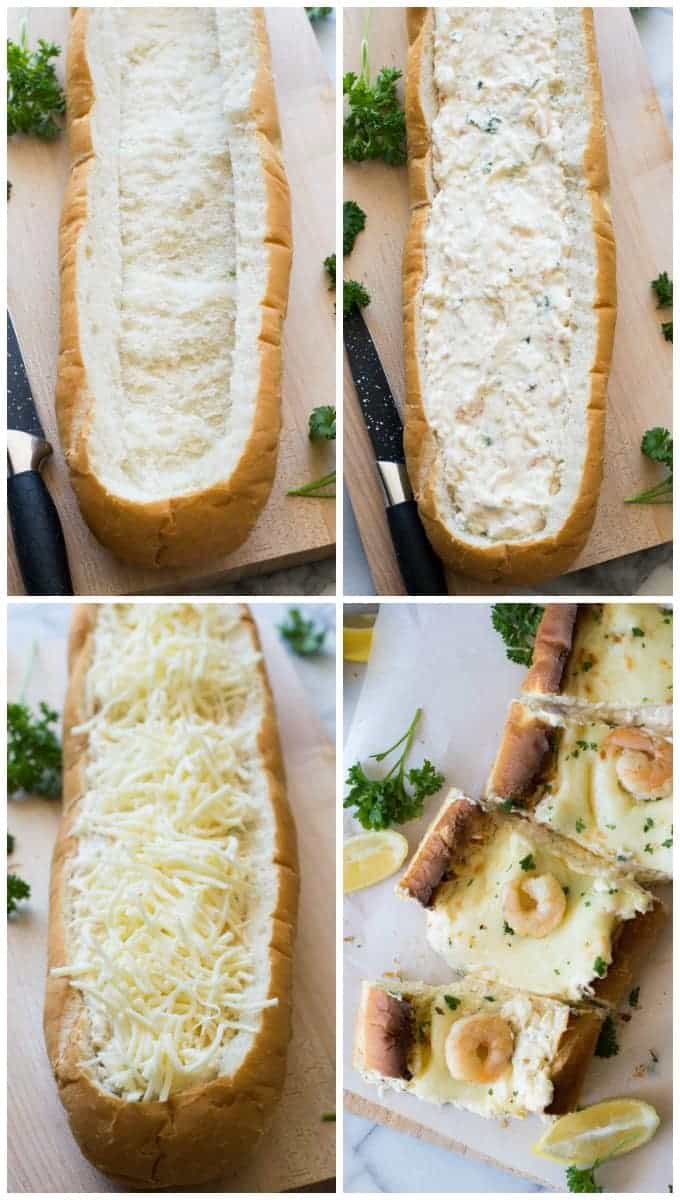 Shrimp Scampi Dip Stuffed French Bread. Decadent buttery shrimp scampi is made into a creamy, cheesy dip and baked in a loaf of french bread to create the ULTIMATE appetizer or snack perfect for game days or parties! Everyone will be left wanting more!