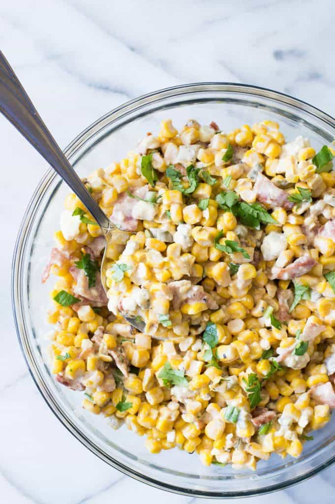 Smokey Bacon & Blue Cheese Corn Salad. Take your corn salad to a whole new level with hints of smoke, fire roasted corn, bacon and chunks of blue cheese.