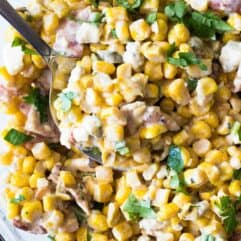 Smoky Bacon & Blue Cheese Corn Salad. Take your corn salad to a whole new level with hints of smoke, fire roasted corn, bacon and chunks of blue cheese.