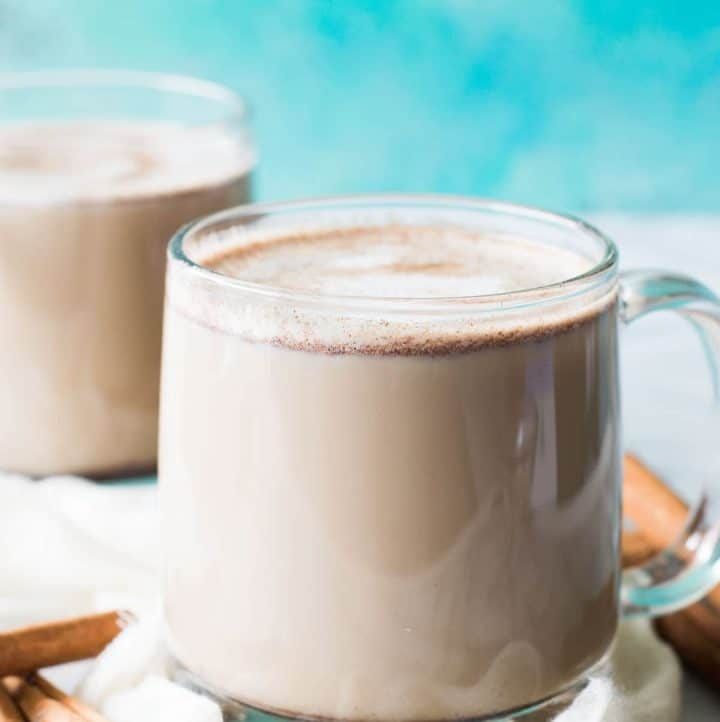 Snickerdoodle Latte. This warm, comforting coffee drink is loaded with cinnamon and hints of brown sugar. Plus it's easily made at home!! No fancy equipment needed! You will be making lattes every day they're so easy!!