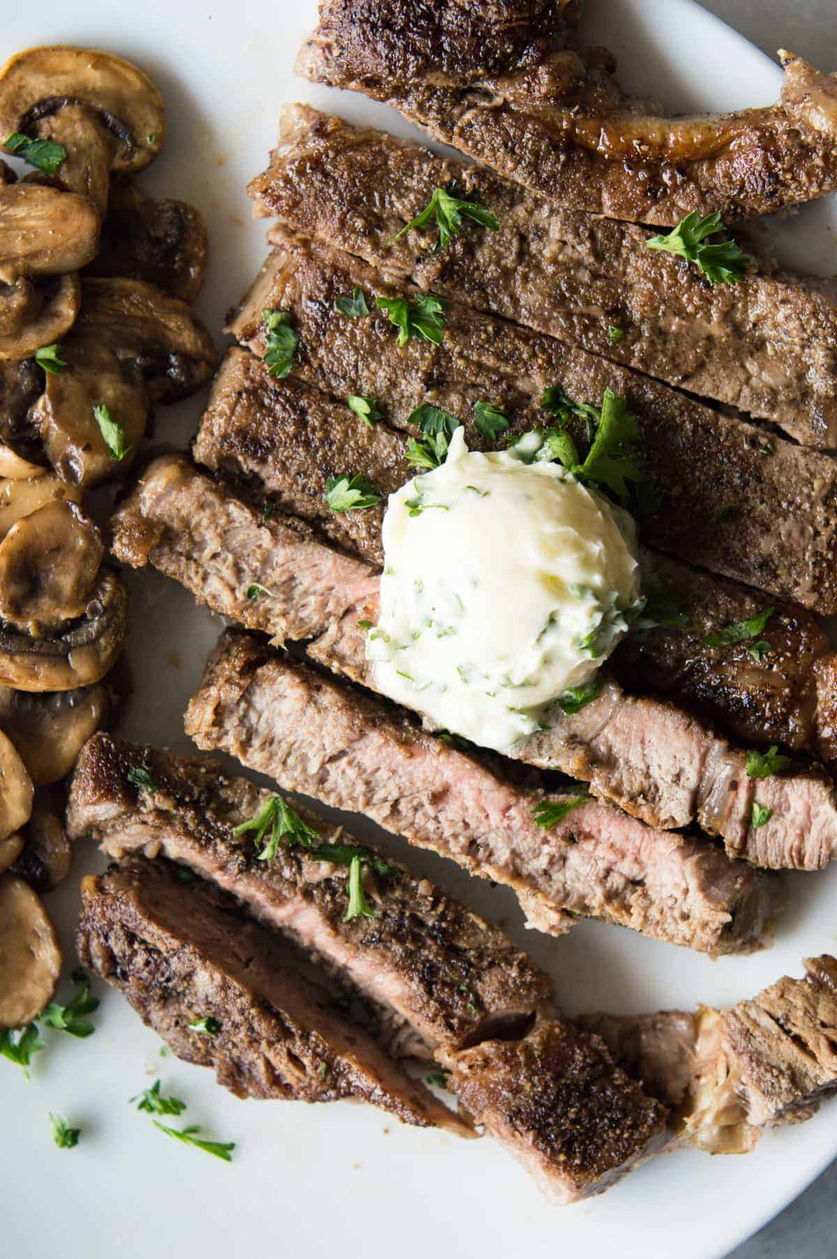 Pan Seared Steak with Garlic Herb Butter - House of Yumm