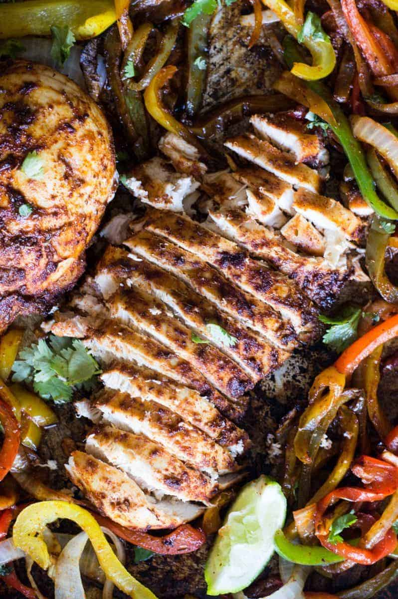 Sheet Pan Chicken Fajitas House Of Yumm