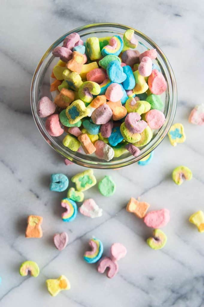 Lucky Charms Milkshake. This milkshake is made with Lucky Charms cereal milk, creamy vanilla ice cream, and colorful Lucky Charms marshmallows! Top it all with homemade whipped cream and even more marshmallows for a fun treat perfect for celebrating St. Patrick's Day, or any day!