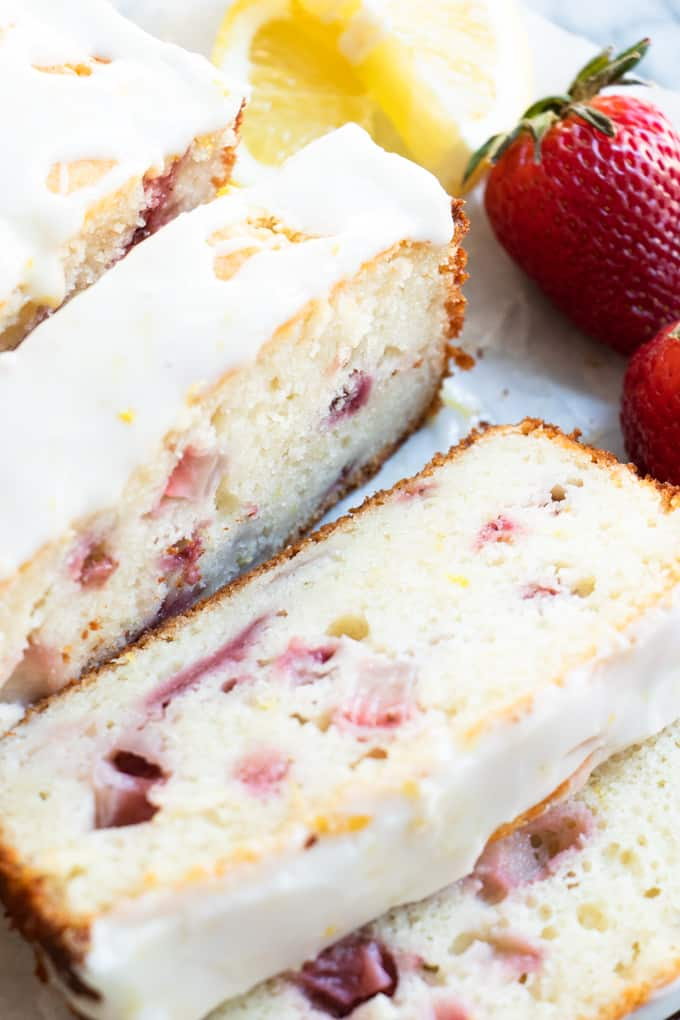Sliced homemade strawberry lemon pound cake.