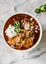 Bowl filled with an easy to make Texas Chili recipe.