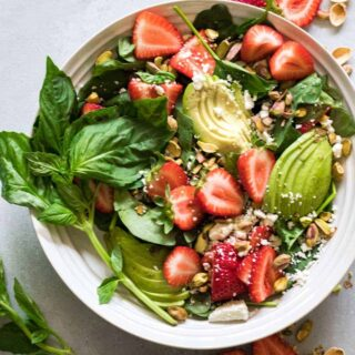 Strawberry Avocado and Pistachio Salad with a Creamy Poppyseed Dressing